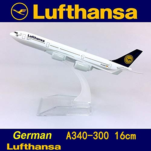 Aquaman Store 16cm Airplane Model - Air German Lufthansa Airplane Airbus A340-300 Model with Base Alloy Aircraft Plane Collectible Display Toy 16CM Model 1 PCs