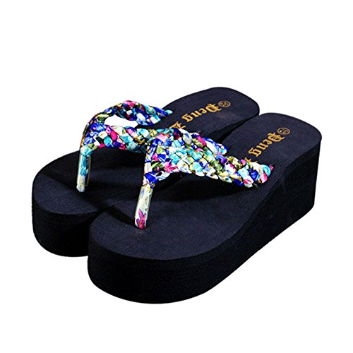 Ularma Verano sandalias zapatillas al aire libre playa chanclas zapatos mujer Azul
