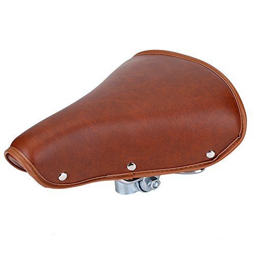 Vintage Saddle - Vintage Bicycle Saddle Classic Comfort Brown Leather Bicycle Bike Cycling Saddle Seat Coffee Rivet Spring Bicycle Seat Saddle for Men Women