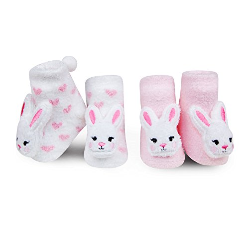 a82201b2a1ed0 Waddle Baby Girls Pink White Fuzzy Easter Bunny Rattle Sock Baby ...