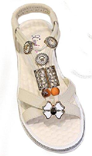 NEWZCERS - Sandalias de vestir para mujer crema