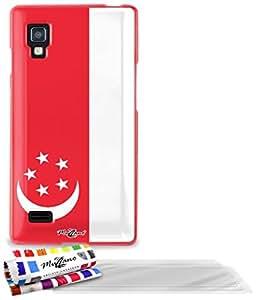 """Carcasa Flexible Ultra-Slim LG L9 de exclusivo motivo [Bandera Singapur] [Roja] de MUZZANO  + 3 Pelliculas de Pantalla """"UltraClear"""" + ESTILETE y PAÑO MUZZANO REGALADOS - La Protección Antigolpes ULTIMA, ELEGANTE Y DURADERA para su LG L9"""