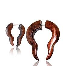 Optical Illusion Handmade Plugs - Organic Brown Wood Gauge Earrings