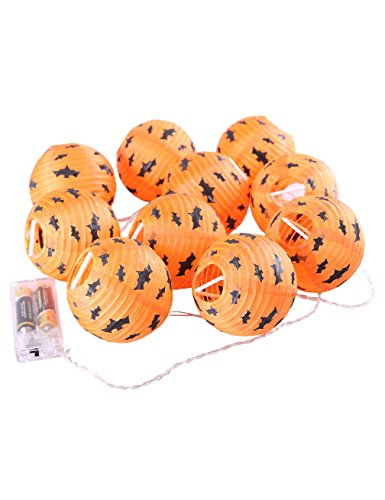 Diy Paper Doll Halloween Costume (Gameyly Halloween Bat Print Paper Lanterns Decoration Plug-in String Lights Set of 10)