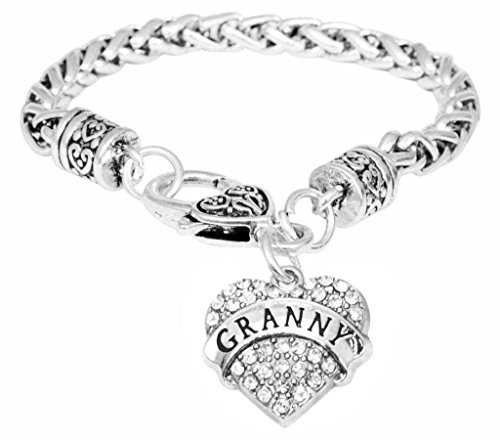 for Granny Bracelet Engraved Gift Jewelry for Granny Crystal Adorned Heart Shaped Pendant Lobster Claw Bracelet Gift for Mom or Grandma Colorless