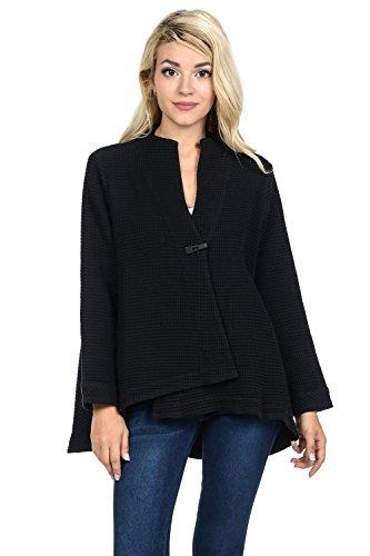 Focus Fashion Women's Cotton Waffle One Button Swing Jacket - One Button Swing