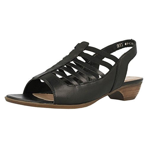 Sandals Ladies Back Low Remonte Sling Black R0853 Heel qXqRr