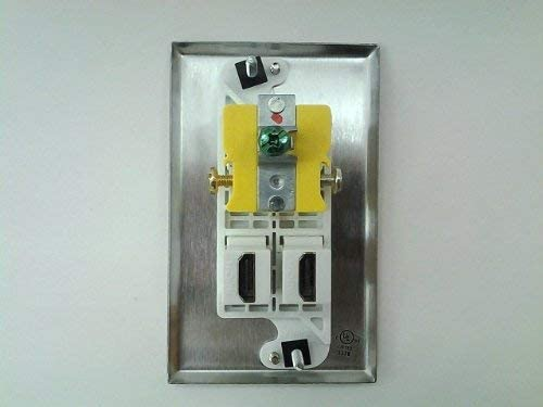 Hubbell AC 15A 110V Power Outlet White 2X HDMI 1.4v Stainless Steel Wall Plate