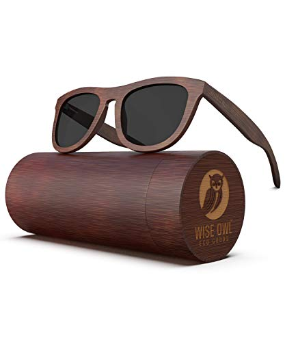 Polarized Bamboo Wood Sunglasses For Men & Women Featuring 10 LAYERED Lens |Wood Sunglasses With Distortion Free, Anti-Reflective & Anti-Scratch Lens -Light Weight Bamboo Sunglasses Wood ()
