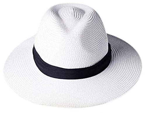 Tumo Life Sun Hat for Women Wide Brim Straw Panama Beach Hat, Summer Roll up Fedora Floppy Hats White (Best Quality Panama Hats)