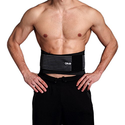 Lumbar Lower Back Brace and Support Belt By Cotill - 8 stable Splints for Back Pain Relief - Dual Adjustable Straps and Breathable Mesh Panels (Dual Adjustable Back Support)