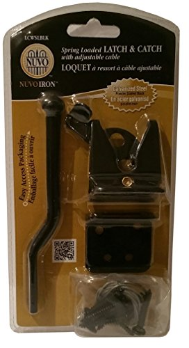 Nuvo Iron Spring Loaded Latch & Catch with Adjustable Cable For Gates and Pens, LCWSLBLK