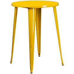 Flash Furniture 30'' Round Yellow Metal Indoor-Outdoor Bar Height Table