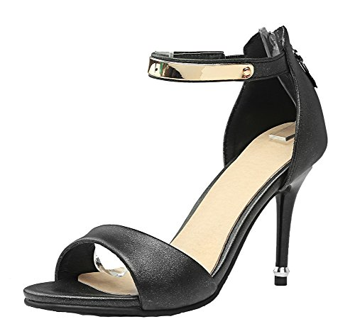 Toe Women's High Solid Open Heels Black Sandals EGHLH005645 Pu WeiPoot Zipper 0qCq1