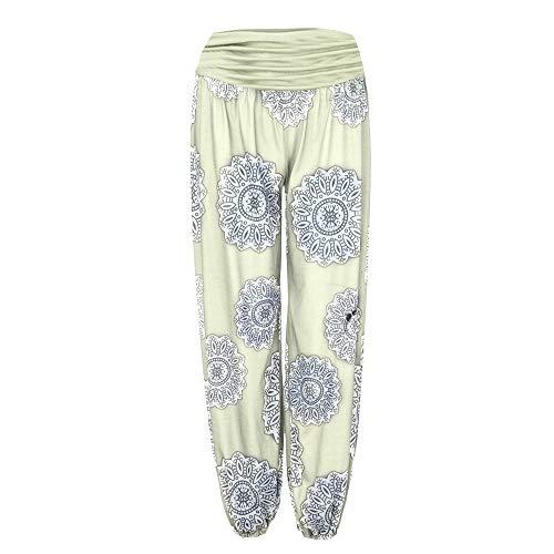 Gillberry Women's Floral Print Elastic Waist Harem Pants Loose Wide Leggings Yellow