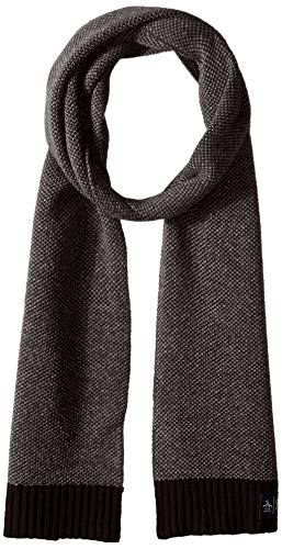 (Original Penguin Men's Birdseye Knit Scarf, black, OSFA)
