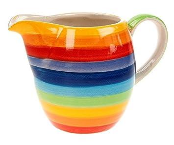 Windhorse RAINBOW rayas cerámica jarra de leche pequeña - 9 cm ...