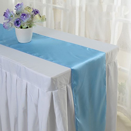 Pack Of 10 Wedding 12 x 108 inch Satin Table Runner For Wedding Banquet Decoration-Sky blue