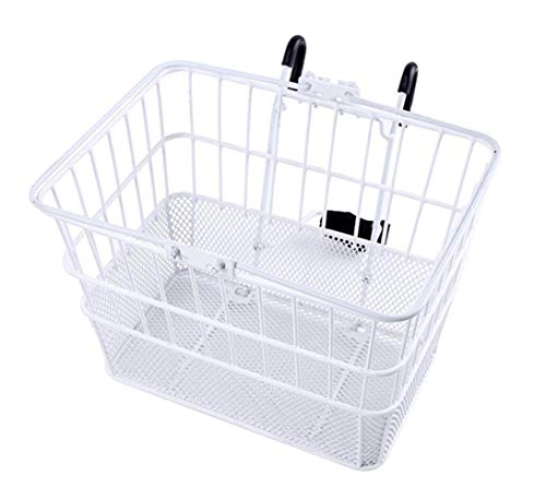 Ohuhu Rust-Proof Quick Release Front Handlebar Bicycle Lift Off Basket/Wire Mesh Bike Basket with Holder, Mesh Bottom, White (Schwinn Bicycle Basket)