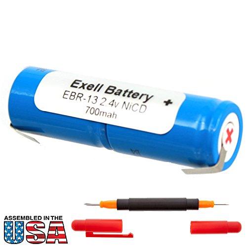 Exell 2.4V Battery for Remington Razors DF30, DF40, WDF7000, XLR 9600, XLR 9800 Replaces RAZOR-13