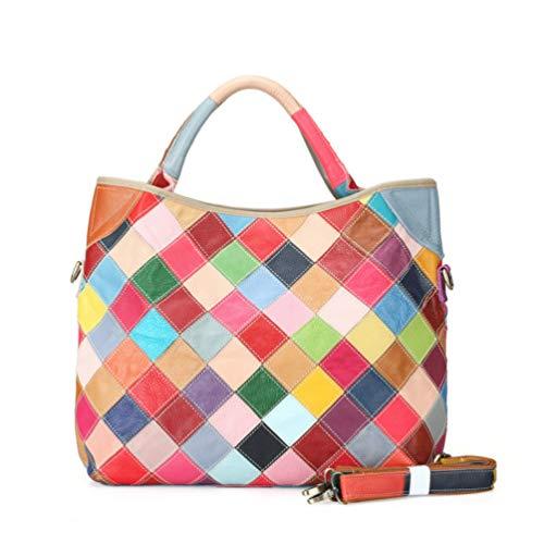 GLQyM Personalidad De Retro Un Mosaico Grande En Nacional Solo Bolso Color Paquete Cuero Ocio Hombro Color Pendiente Cuero Mujer gq4gwrxE0