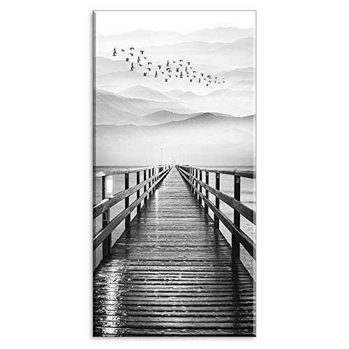 (Lake Wall Art for Aisle Corridor, PIY Black and White Pier with Birds Flying Canvas Prints Decor, Vertical Calm Wharf Mountain Landscape (1