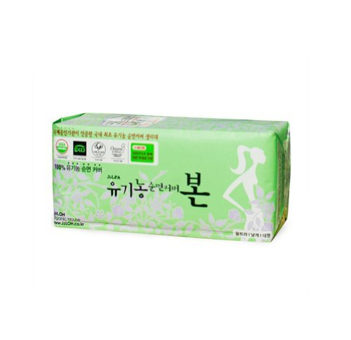 Korean Bon Organic Cotton Sanitary Pads with Wings Large 28 Count