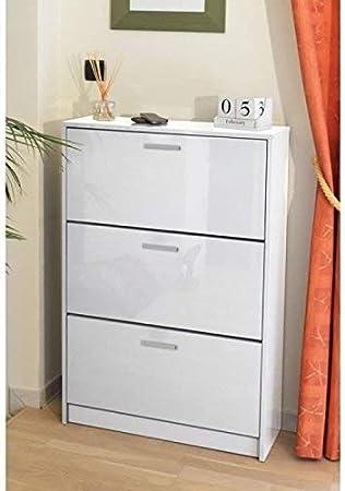 Berlioz Creations Klaket 3 Meuble A Chaussures Blanc Haute Brillance 75 X 25 X 113 Cm Amazon Fr Cuisine Maison