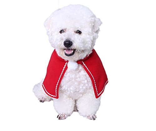 Polar Bear Costume Dog (BBEART Pet Cloak, Christmas Clothes Puppy Costume Cat Cloak Halloween Collar Christmas Collar for Small Dog Cat (M, Red)