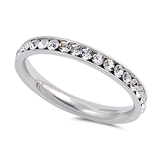 - Stainless Steel Eternity Simulated Cz Wedding Band Ring 3mm Sz 3-10; Comes Box (9)