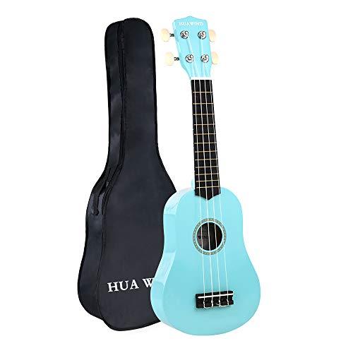 HUAWIND Kids Ukulele, Soprano Ukulele Beginner, Hawaii kids Guitar Uke Basswood 21 inch with Gig Bag, Light Blue
