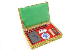 Abacus Calligrafica: Set de principiante de caligrafía china / japonesa & pintura sumi-e, de 8 piezas: pincel, piedra de tinta, contenedor para tinta etc. en caja de regalo, Art. WFXF-04 DE