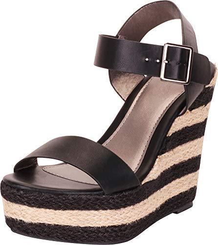 - Cambridge Select Women's Open Toe Striped Espadrille Chunky Platform Wedge Sandal,8 B(M) US,Black PU