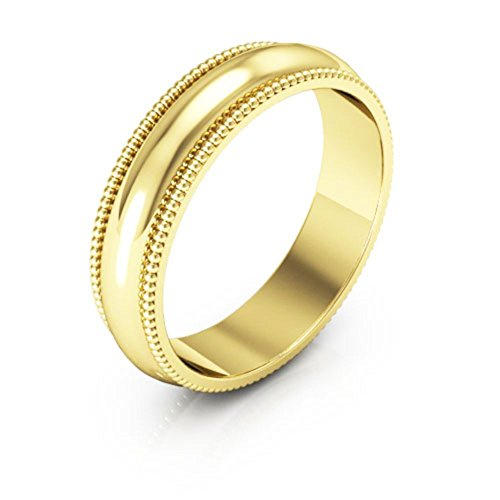 10K Yellow Gold men's and women's plain wedding bands 5mm Milgrain, (5mm Edged Band Ring)