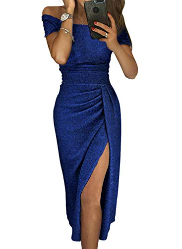 Ball Gowns Cocktail Dresses - HUUSA Off The Shoulder Women Sexy Prom Cocktail Sequin Dress Party Formal Wedding Evening Gowns Metallic Elegant X-Large Blue
