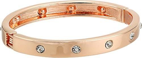 Guess Gold Bangles (GUESS Women's Hingle Bangle w/ Crystal Accents Rose Gold/Crystal One Size)