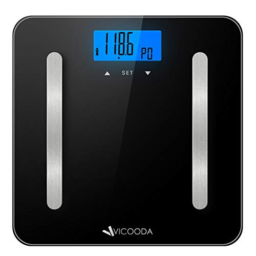 Body Scale, VICOODA Bathroom Scale with Large Backlit Display, High Accuracy, 400 Libra Weight Capacity, Measures Body Weight, Body Fat, Body Water, Muscle Mass, Bone Mass, BMI, Calorie - Black