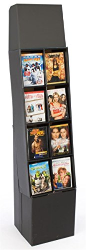 DVD Rack with 8 Display Sections, Easy Setup, Floor-Standing POP Display Stand with Removable Header, Black Corrugated Cardboard - Set of 4
