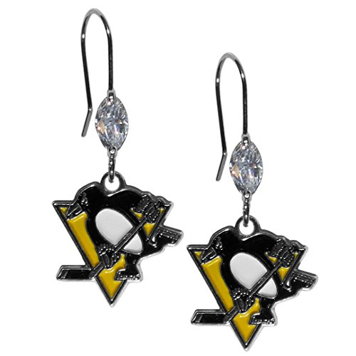 NHL Pittsburgh Penguins Crystal Dangle Earrings (Penguins Pittsburgh Clock)