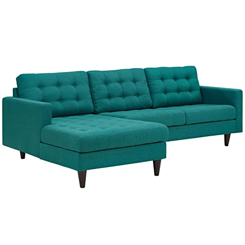 Modway Empress Mid-Century Modern Upholstered Fabric Left-Facing 2-Piece Sectional Sofa in Teal