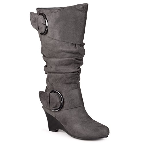 Journee Collection Womens Regular Sized and Wide-Calf Buckle Slouch Wedge Knee-High Boots Grey, 10 Wide US - Slouch Buckle Knee Boot