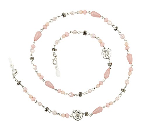 Beaded Eyeglass Chain Holder, Silver Or Gold Fashion Lanyard Necklace, Giselle - Tone Pink Glass