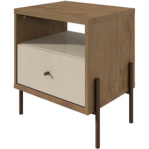 - Manhattan Comfort 350484 Joy Series Modern 1-Drawer Bedroom Nightstand, Off-White