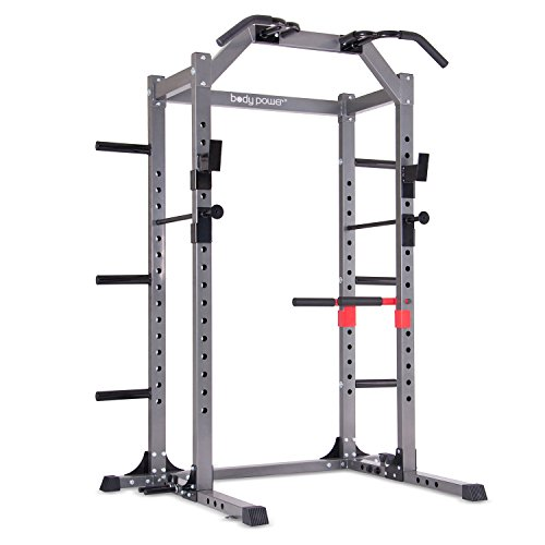 Body Power Deluxe Rack Cage System Enhanced with Upgrades / Full-length Safety Bars / Built in Optional Floor Mount Anchors by Body Power