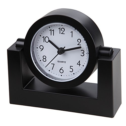 Timekeeper Desktop Swivel Clock with Black Frame/White Face, Black