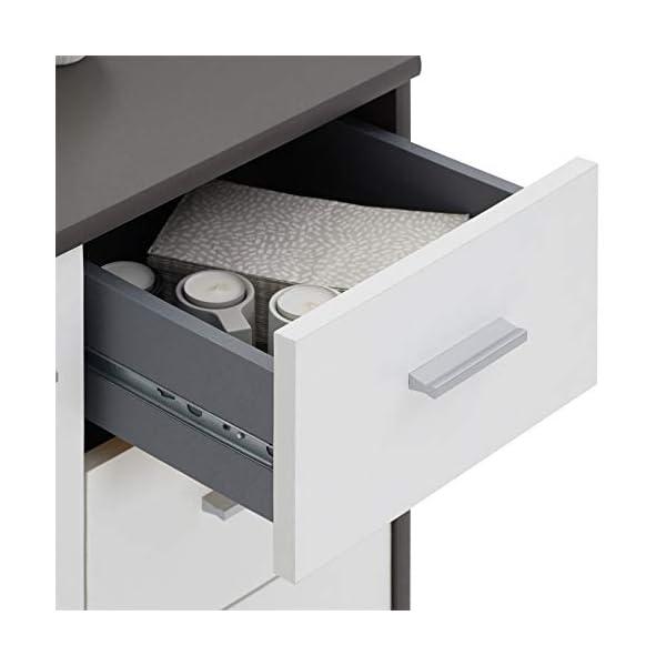 IDIMEX Buffet Remy, Commode Meuble de Rangement avec 2 tiroirs et 2 Portes, en mélaminé Gris Mat et Blanc Mat