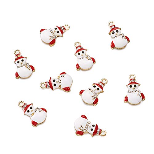 (Craftdady 10Pcs Gold Tone Christmas Snowman Alloy Enamel Charms with Rhinestone 23x15mm DIY Jewelry Necklace Earring Bracelet Christmas Gifts Decoration Craft Making Hanging)
