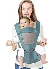 5 in 1 Babytrage Ventral Ergonomischer 3D-Hüftsitz + Rückenlehne + Kopfstütze Mehrere Positionen für Neugeborene und Kleinkinder Freisprecheinrichtung Verstellbarer Rucksack Bequem und bequem