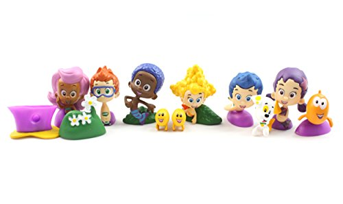 Western Animation Bubble Guppies Mini Figures Toys Set of 12 Gil Molly Kids Collectible 4cm - -
