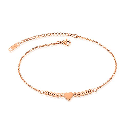 - Marrymi Anklet Bracelet Rose Gold Plated Anklets for Women Womens Love Symbol Charm Adjustable Anklet Bracelet, large bracelet, Gift for Christmas Day, Gift for Valentine's Day